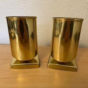 Gatco Solid Brass Pencil Cup Pair Bookends MCM